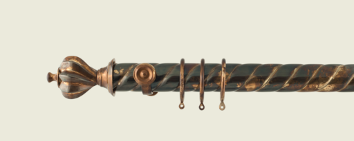 Brass Curtain Poles - Distressed brass curtain pole