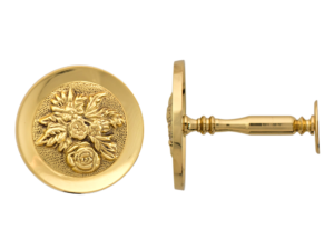brass embossed curtain pole holdback