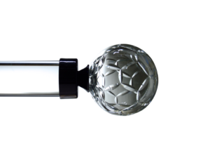 frosted cut crystal ball curtain pole finial