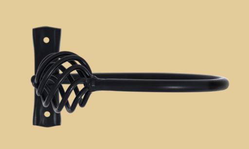 wrought iron curtain pole holdback