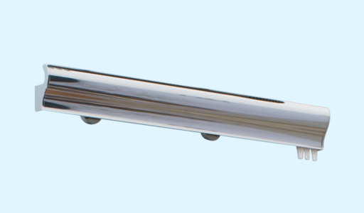 70mm S-rail pole in polished chrome with end caps